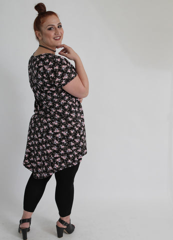 Black & Pink Floral Top,Plus size clothing,womens plus size clothing,big size ladies dress,plus size