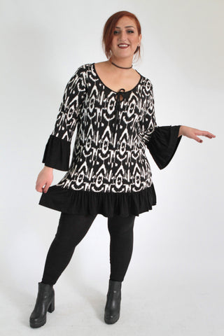 Black &  White Tribal Print Top,Plus size clothing,womens plus size clothing,big size ladies dress,plus size