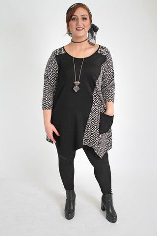 Black & White  Diamond Print Color Block Top,Plus size clothing,womens plus size clothing,big size ladies dress,plus size