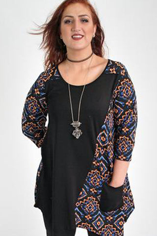 Black & Multi Colour Floral Print Top With Side Pocket