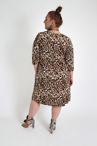 Black & Brown Animal Print Dress With Tie Waist