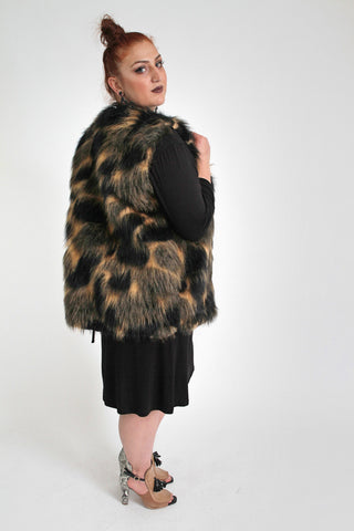 Brown With Leopard Print Faux Fur Sleeveless Waistcoat