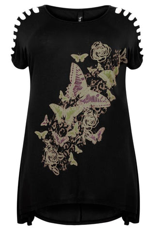 Black Butterfly Print Top With Shredded Shoulder Detail,Plus size clothing,womens plus size clothing,big size ladies dress,plus size