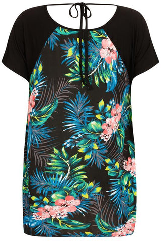 Black & Multi Tropical Floral Print Panel Top With Back Tie,Plus size clothing,womens plus size clothing,big size ladies dress,plus size