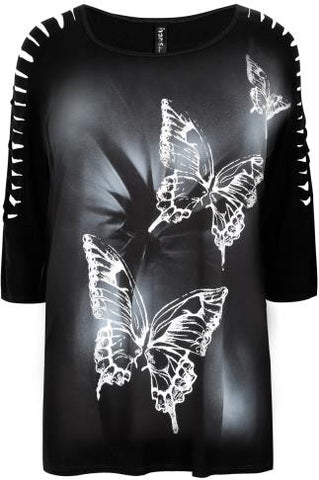 Black Butterfly Print Top With Shredded Cold Shoulder,Plus size clothing,womens plus size clothing,big size ladies dress,plus size