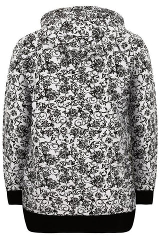 Black & White Floral Print Hooded Sweat Top,Plus size clothing,womens plus size clothing,big size ladies dress,plus size