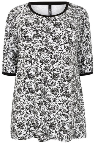 Black & White Floral Print Jersey Top,Plus size clothing,womens plus size clothing,big size ladies dress,plus size