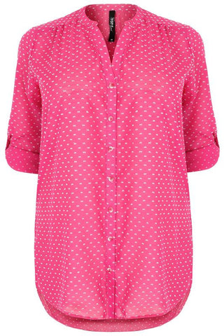 Pink & White Dotted Shirt With Rolled Up Sleeves,Plus size clothing,womens plus size clothing,big size ladies dress,plus size