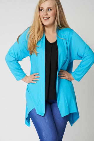Blue Edge to Edge Waterfall Cardigan,Plus size clothing,womens plus size clothing,big size ladies dress,plus size