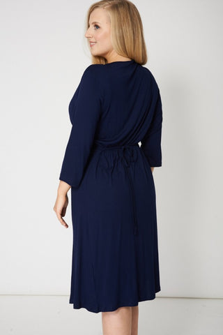 Crossover Navy Dress With Back Tie,Plus size clothing,womens plus size clothing,big size ladies dress,plus size