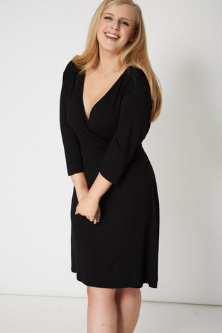 Crossover Black Dress With Tie Waist,Plus size clothing,womens plus size clothing,big size ladies dress,plus size