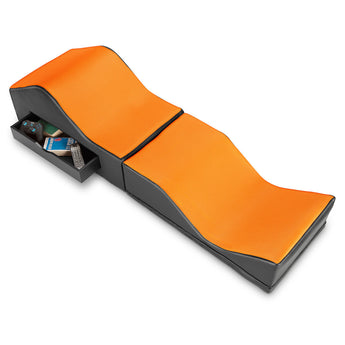 X Rocker® Vinyl and Mesh Ottoman/Lounger in Black and Orange (without sound)