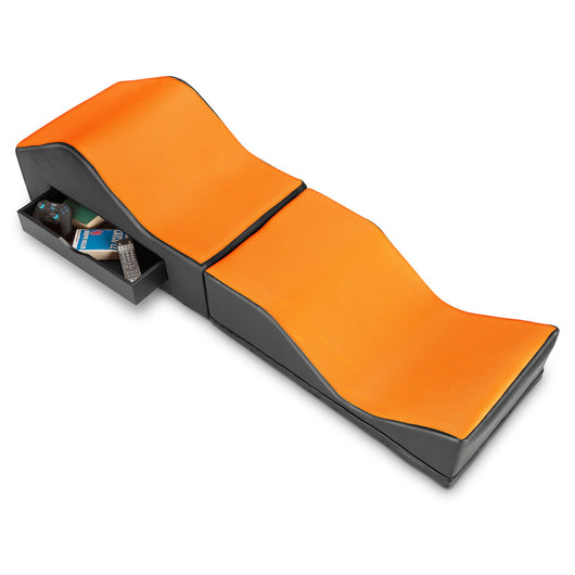 PRICE REDUCED 25% - X Rocker® Vinyl and Mesh Ottoman/Lounger in Black and Orange (without sound)