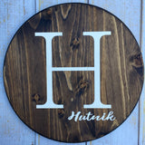 Custom Name Sign, Last Name Sign, Circle, Hand Painted Sign