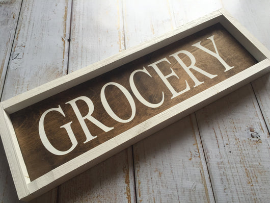 Grocery sign - rustic, framed, hand painted sign