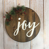 Joy holiday sign - Christmas Sign - Hand Painted Typography Sign