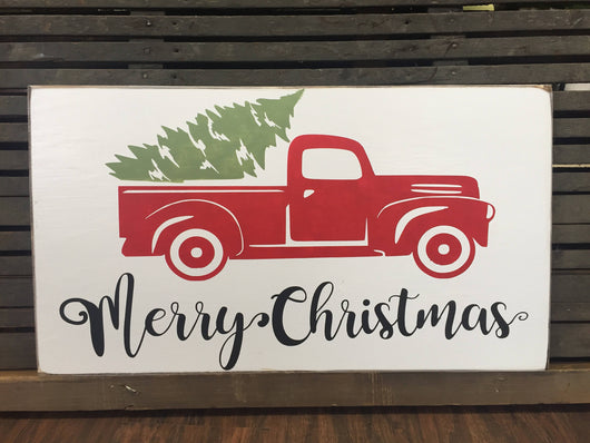 Merry Christmas, Vintage Truck with Christmas Tree, hand painted sign.