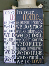 In Our Home. Hand Painted Typography Sign