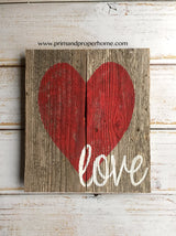 Rustic Heart Love Sign- Hand Painted -