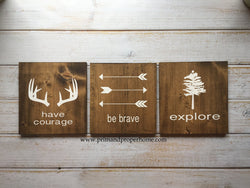 Be Brave, Explore, Have Courage SET OF THREE - Typography Wall Art