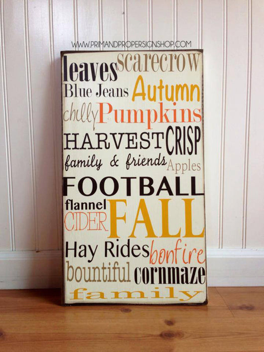 Fall Subway Sign - Hand Painted Wall Art
