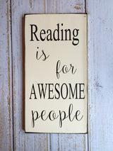 Reading is for awesome people - Hand Painted Typography Sign