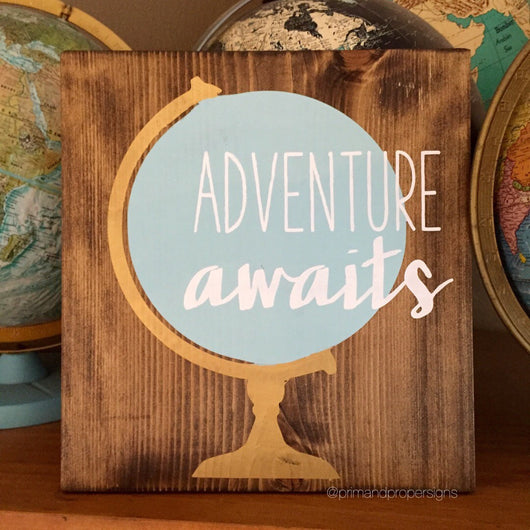 Adventure Awaits vintage globe - Typography Wall Art