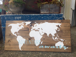 Adventure Awaits world map - Hand Painted Typography Wall Art