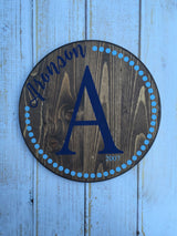 Custom Name Sign, Last Name Sign, Hand Painted Circle Sign