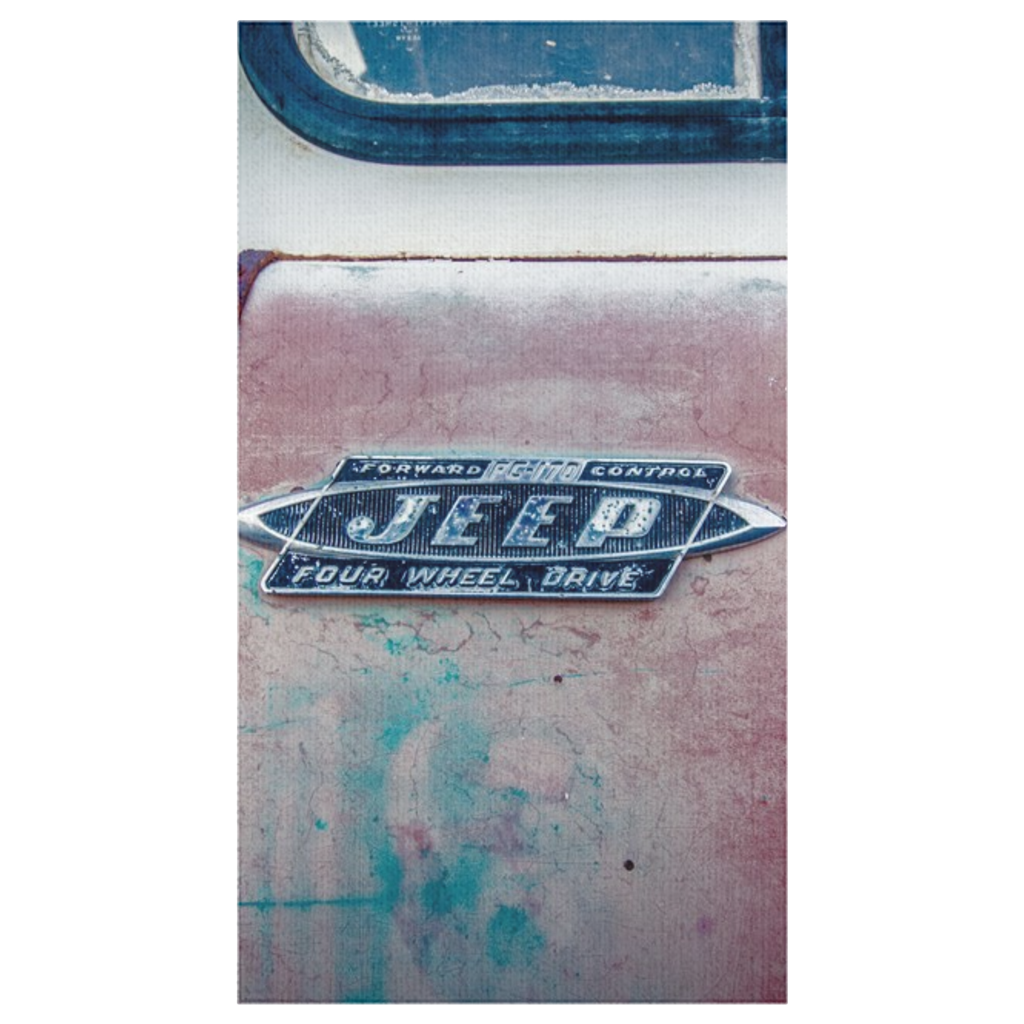 This old Jeep Table Clothes