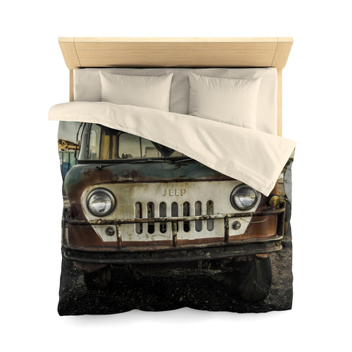 Old School Jeep Microfiber Duvet Cover