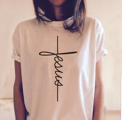Jesus Cross Letter Print T-shirt