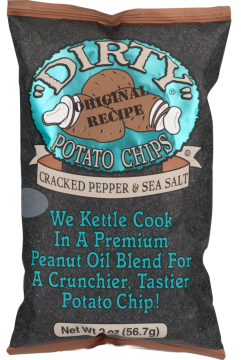 Dirty Potato Chips Sea Salt and Pepper, Two Ounce Bags (Pack of 25)
