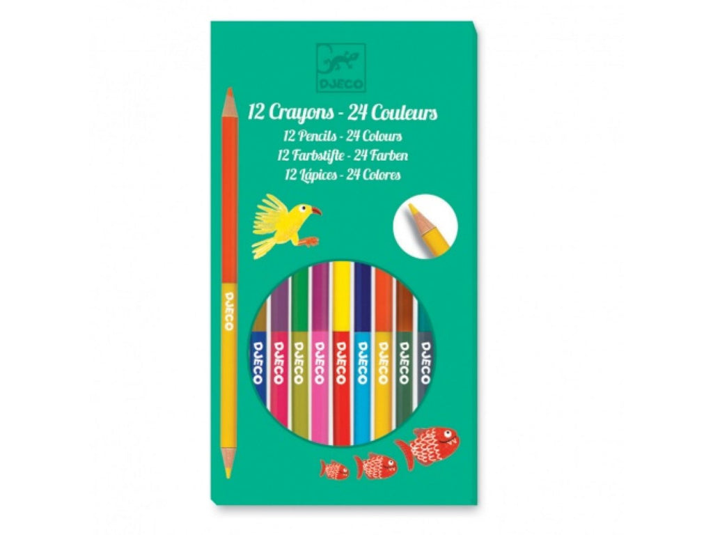 Djeco 12 Double-sided Coloured Pencils