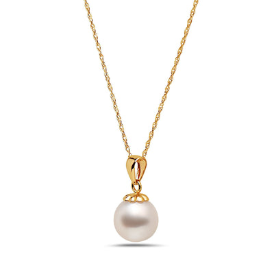 8-8.5mm AA Akoya Cultured Pearl 14k Yellow Gold Pendant