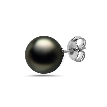 10-11mm Natural Color Tahitian Pearl 14k Gold Stud Earrings