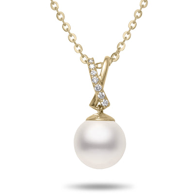 8-8.5mm Akoya Cultured Pearl and Diamond 14k Yellow Gold X Pendant Necklace