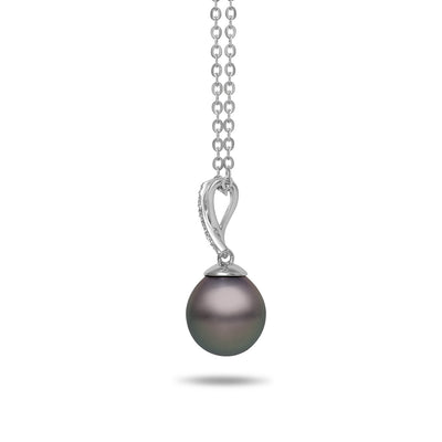 8-9mm Natural Color Tahitian Cultured Pearl and Diamond 14k White Gold X Pendant Necklace