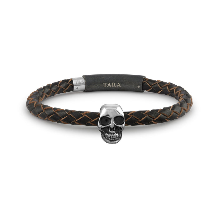 Steel Skull Black with Raw Edges Braided Leather Bracelet