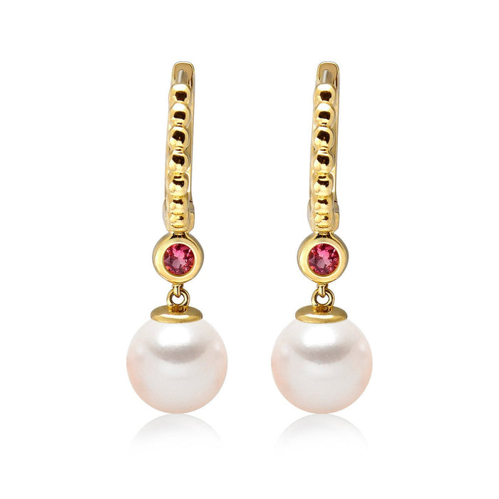 14k Yellow Gold 5-5.5mm Akoya Pearl and Pink Tourmaline Earrings