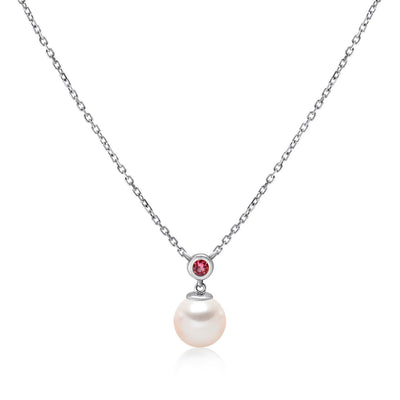 14k White Gold 6.5-7mm Akoya Pearl and Pink Tourmaline Necklace