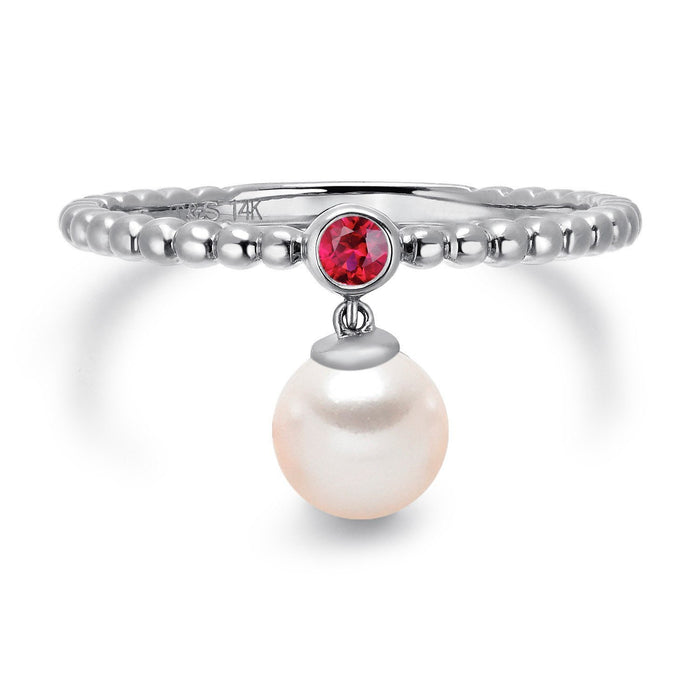 14k White Gold 5-5.5mm Dangle Akoya Pearl and Pink Tourmaline Stackable Ring