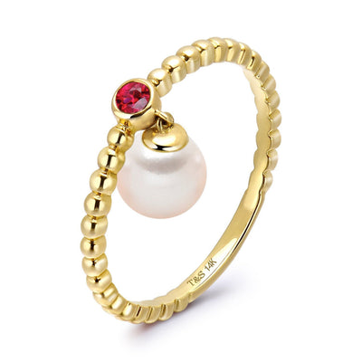 14k Yellow Gold 5-5.5mm Dangle Akoya Pearl and Pink Tourmaline Stackable Ring
