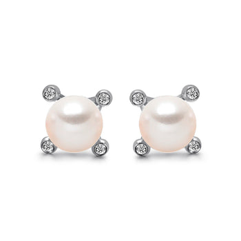 14k White Gold 4-4.5mm Akoya Pearl and Diamond Stud Earrings
