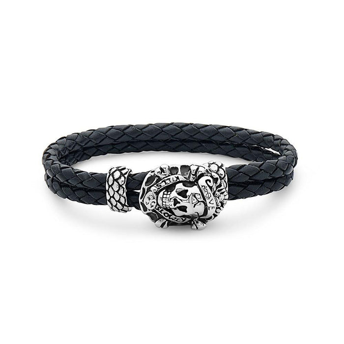 Love Kills Slowly Skull Steel Braided Leather Bracelet