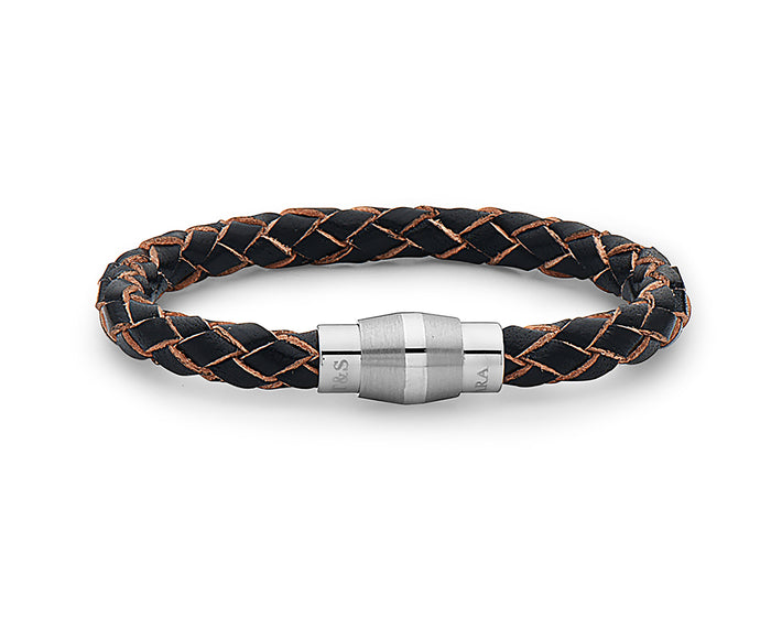 Steel Barrel Black with Raw Edges Braided Leather Bracelet