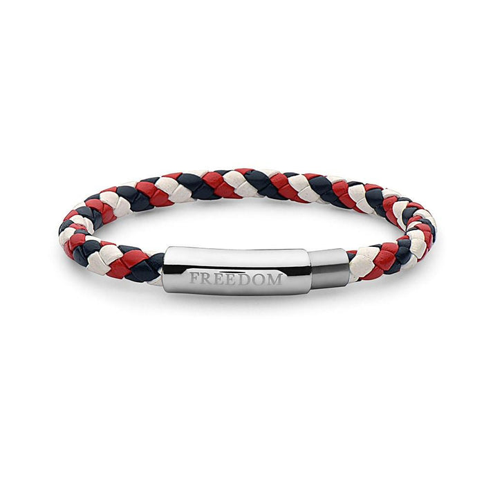 Freedom Steel Braided Leather Bracelet