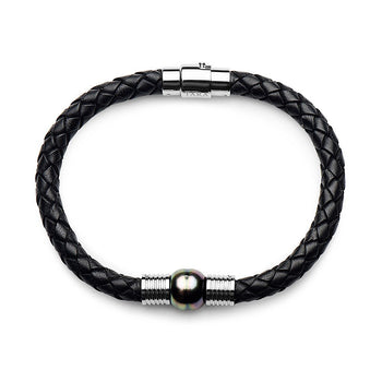 10-11mm Tahitian Circle Pearl Braided Leather Bracelet