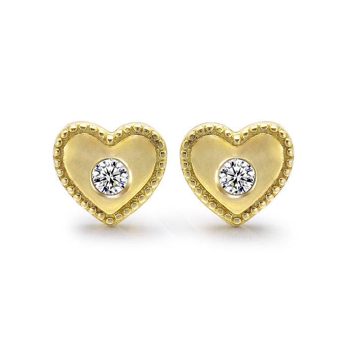 14k Yellow Gold Diamond Heart Stud Earrings