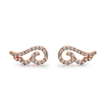 14k Rose Gold Diamond Angel Wing Earrings